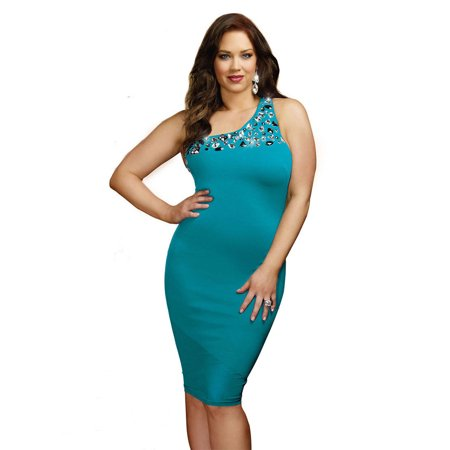 Plus Size Crystal One Shoulder Bodycon -