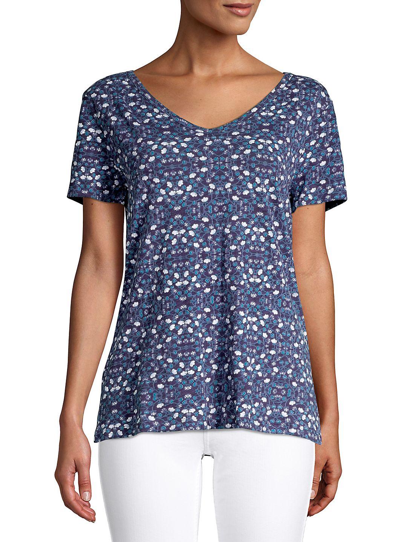 Short Sleeve V-Neck Floral Top