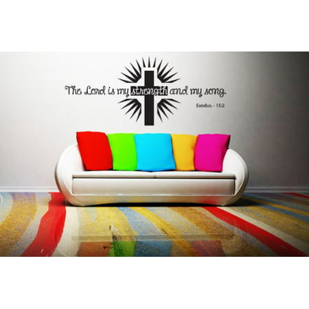 Lord is my Strength and my Song - Exodus 15:2 Wall Decal - wall decal, sticker, mural vinyl art home decor, Christian quotes and sayings - W5199 - White, 16in x 7in