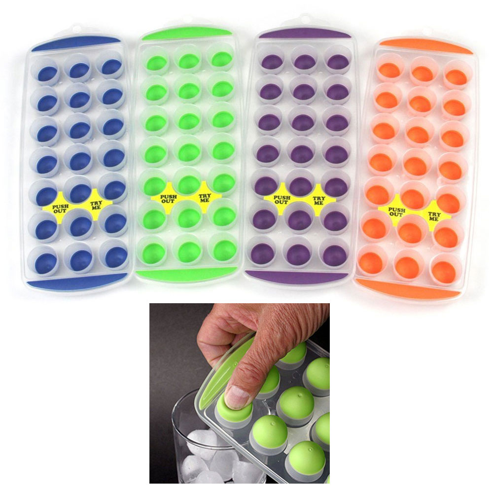 4 Push Out Ice Cube Trays Easy Pop Out Round Cubes Flexible Silicone Bottom Tray
