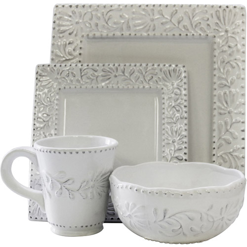 American Atelier Bianca Leaf Square 16-Piece Dinnerware Set by Jay Import