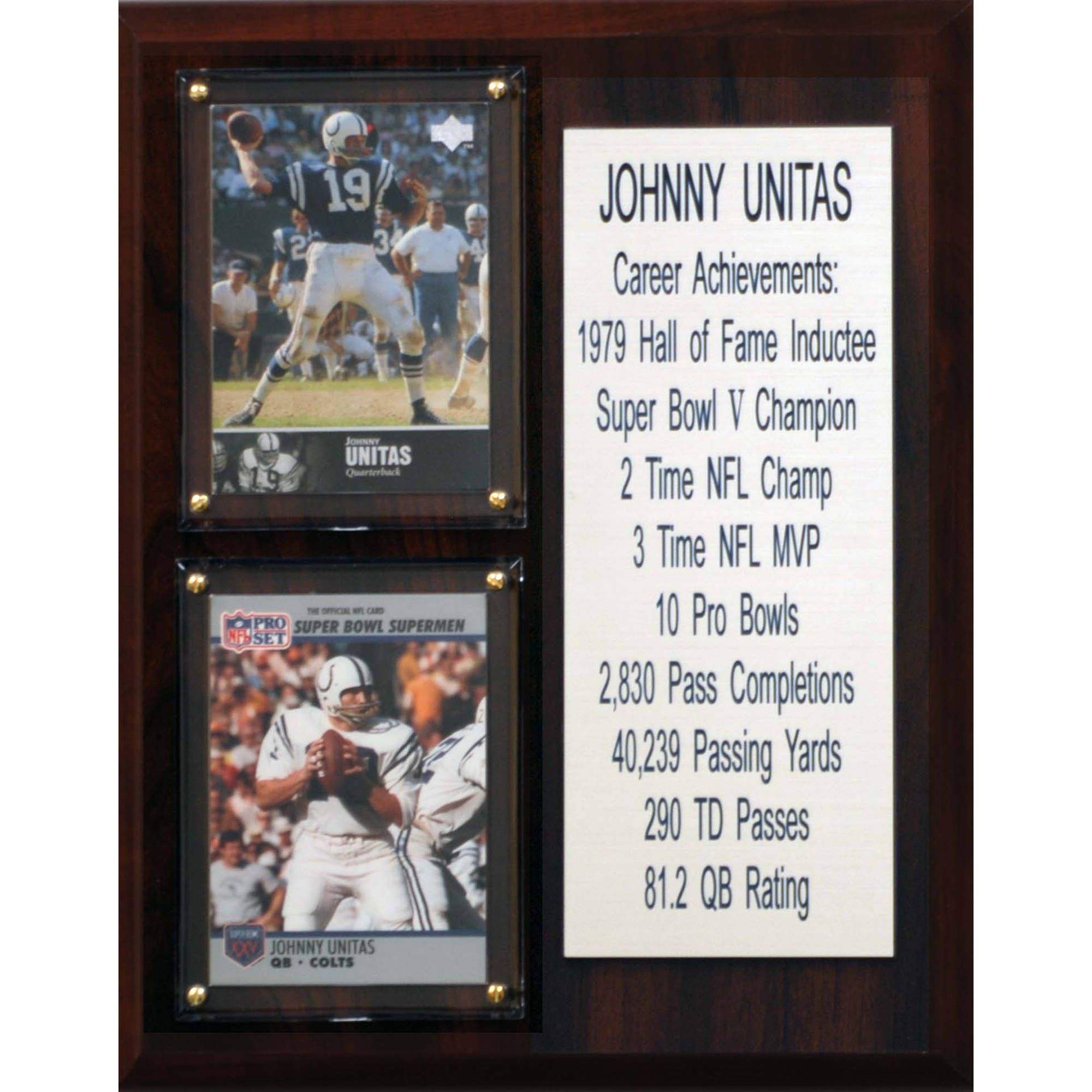C&I Collectables NFL 8x10 Johnny Unitas Baltimore Colts Career Stat Plaque