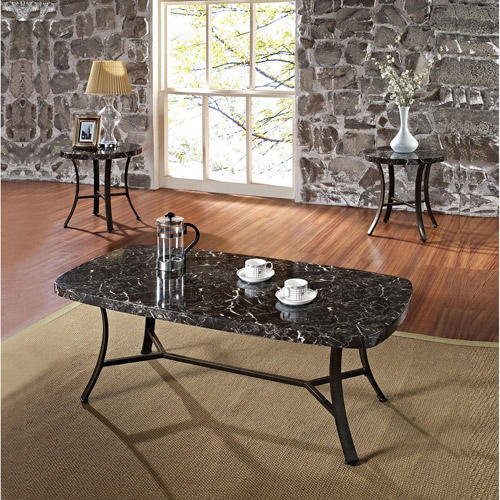 Daisy Faux Marble 3 Piece Coffee And End Table Set, Black