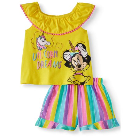 Minnie Mouse Graphic Top and Shorts, 2pc Outfit Set (Toddler Girls) (Toddler Girl Spring Clothes)