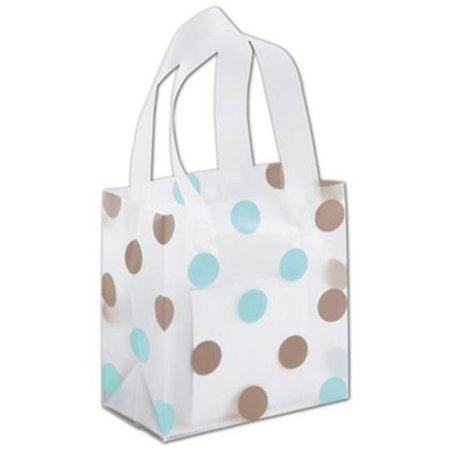 Deluxe Small Business Sales 268 060306 Bbdc 6 5 X 3 5 X 6 5 In  Dots Frosted Flex Loop Shoppers  44  Brown And Blue On Clear