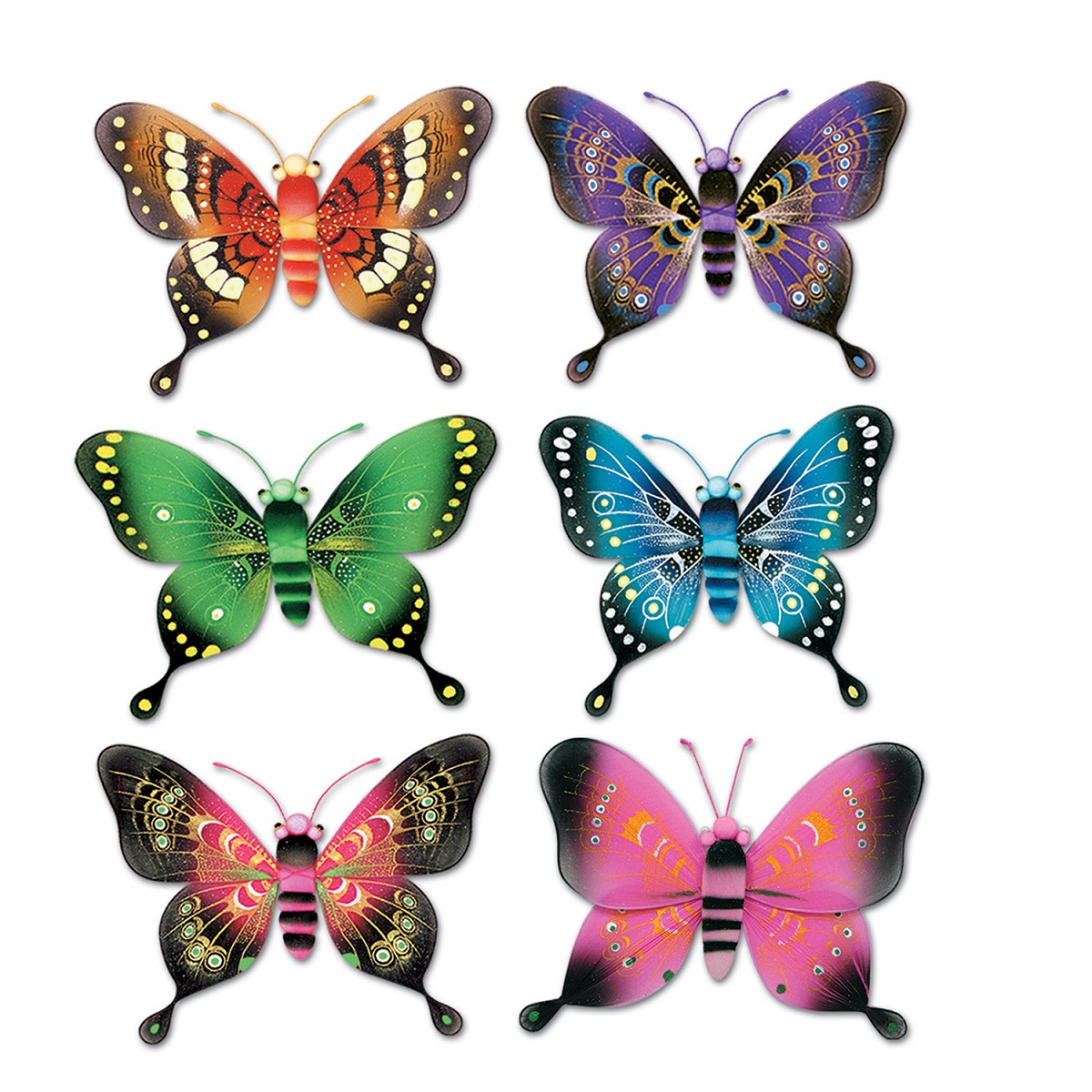 Club Pack of 12 Multi-Colored Majestic Butterfly Hanging Party Decorations 5""