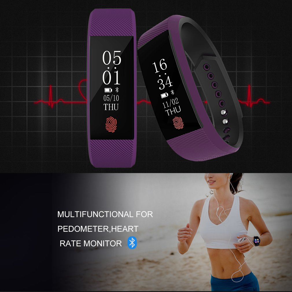 Multifunctional Waterproof Heart Rate Sleep Monitor Fitness Bracelet OLED Touchpad Smart Wristband Activity Trackers Pedometer