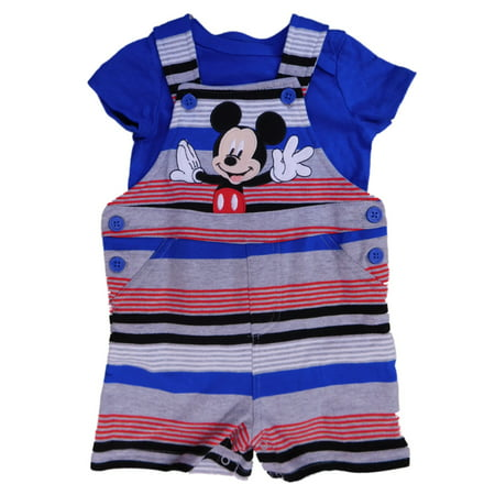 Mickey Mouse Outfit For Boys (Disney Infant Boys Gray & Blue Mickey Mouse Shortall Shorts & T-Shirt)