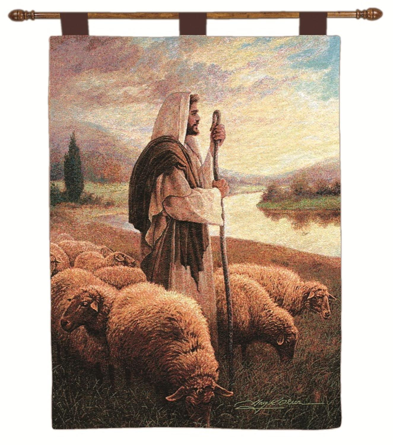 "Greg Olsen ""The Lord is My Shepard"" Pictorial Wall Artwork Hanging Tapestry 26"" x 36"" by Manual Weavers"