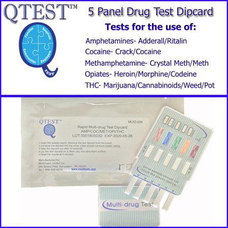 (3 PACK) QTEST 5 Panel Urine Drug Test Dips, Tests For AMP/COC/METH/OPI/THC