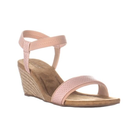Stage Wedge (Womens A35 Gillee Ankle Strap Wedge Sandals, Dusty Rose Snake )
