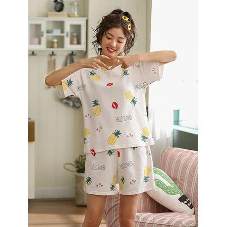 Weefy Women Cute Summer Cartoon Print Short Sleeve Sleepwear Two-Piece Pajamas Home - Cute Women Onesies