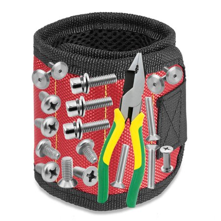 Magnetic Wristband with Breathable Material for Holding Tools Embedded with Super Powerful Magnets(Red)