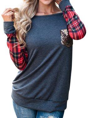 Women's Round Neck Checked Long Sleeve Sequin Pocket Sweatshirt