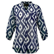 Outback Trading Shirt Womens 3/4 Sleeve Diamond Chiffon Midnight 42115