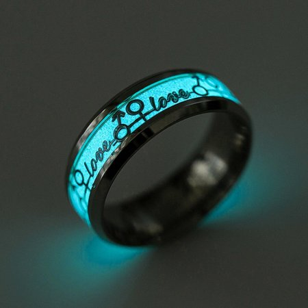 Love Glow In the Dark Stainless Steel Wedding Band Ring Mens or Womens Unisex Wedding Band Ring