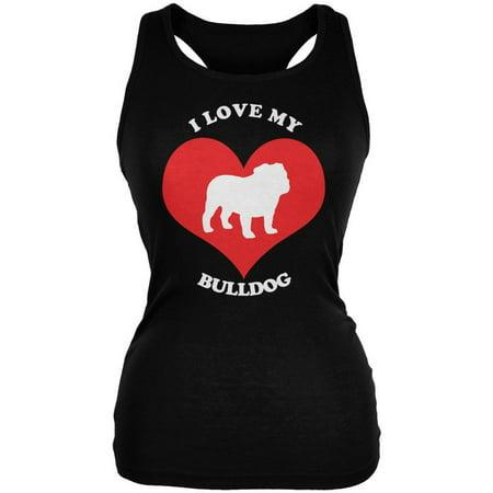 Valentines I Love My Bulldog Black Juniors Soft Tank Top ()