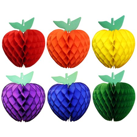 Devra Party 7 Inch Honeycomb Tissue Paper Apple Decoration in Rainbow Themed Red, Orange, Yellow, Green, Blue, Purple](Honeycomb Tissue Decorations)
