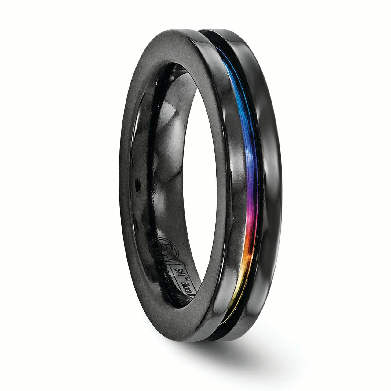 Edward Mirell Black Titanium Anodized 4mm Wedding Ring Band Size 9.00 Classic Flat Fancy Fashion Jewelry Gifts For Women For Her - image 4 of 7