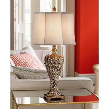 - Regency Hill Antique Table Lamp Classic Gold Open Scroll Off White Oval Shade for Living Room Family Bedroom Bedside Nightstand