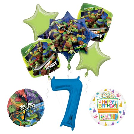 Teenage Mutant Ninja Turtles 7th Birthday Party Supplies and TMNT Balloon Bouquet Decorations](Ninja Turtles Birthday Decorations)