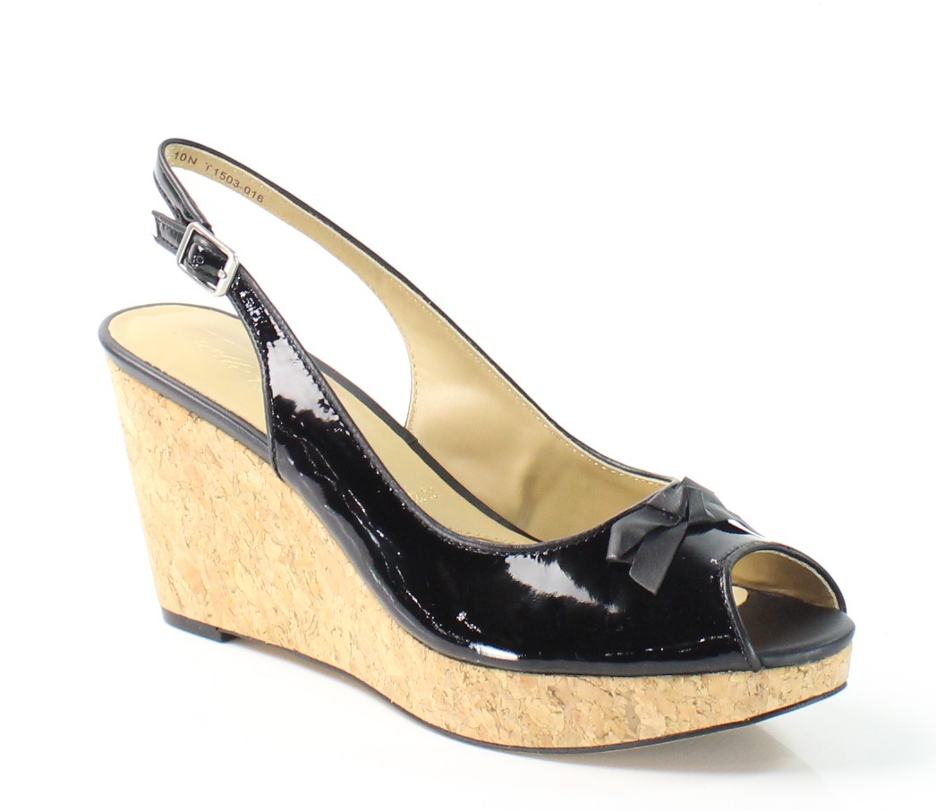 Trotters New Black Allie 8.5N Slingbacks Patent Leather Sandals by Trotters