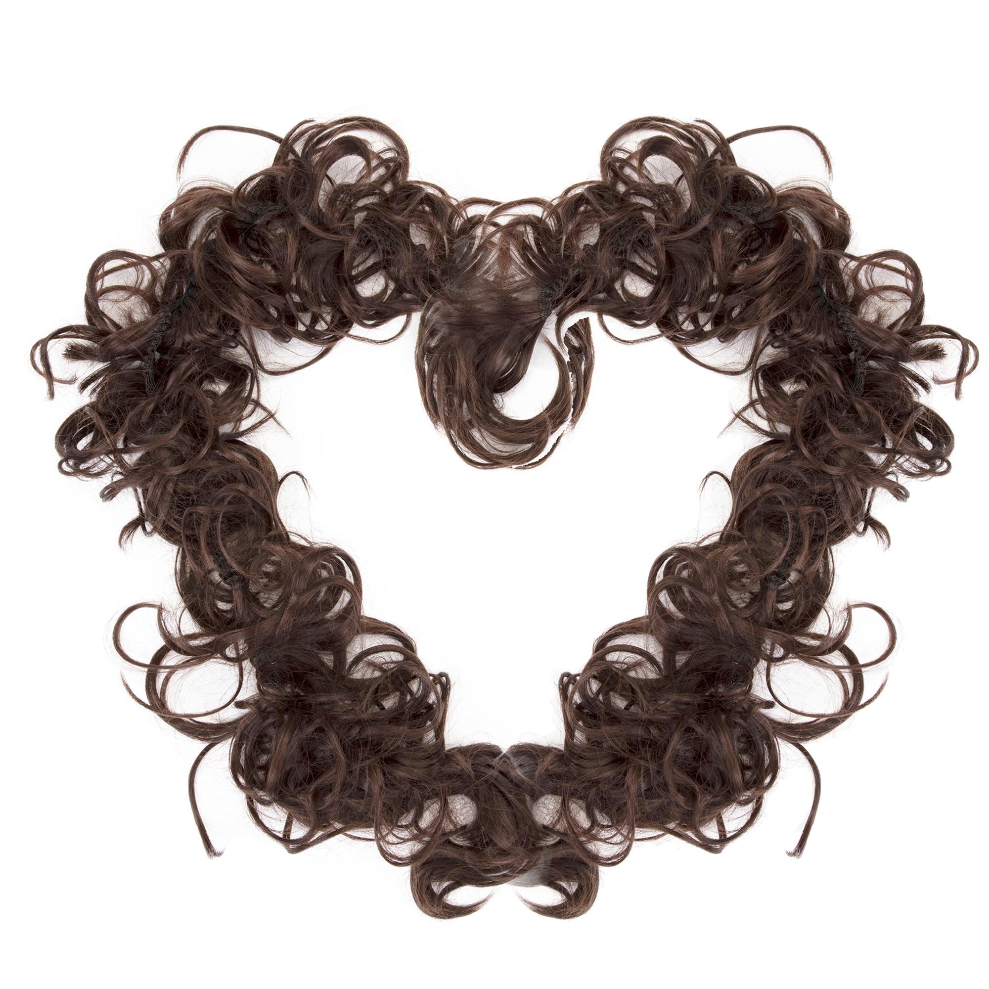 Medium Brown Hair Extensions Wedding Elastic Band Curly Updo