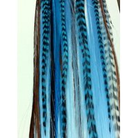 New!!!16 Long Tourqoise Synthetic Hair Extension with Genuine Blue Mix Grizzly Feathers