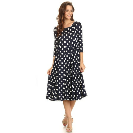 Women's trendy style 3/4 sleeve  polka dot print  midi dress.