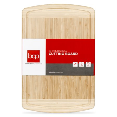 Best Choice Products 18x12in Kitchen Bamboo Butcher Block Cutting Board Tray for Chopping, Serving w/ Juice Drip