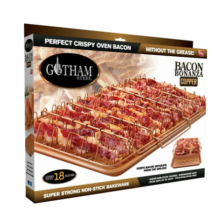 Gotham Steel Nonstick Copper 2-Piece Set XL Healthy Bacon Bonanza Pan with Drip Tray, As Seen on - Back Bacon