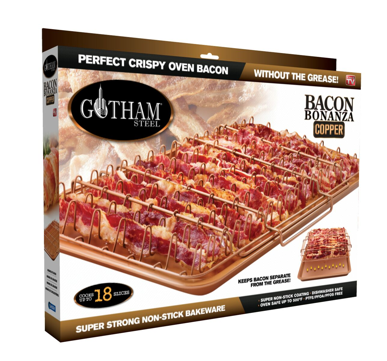 Gotham Steel Nonstick Copper 2-Piece Set XL Healthy Bacon Bonanza Pan with Drip Tray, As Seen on TV!