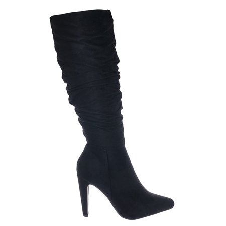 Every by Delicious, Slim Cone Heel Pointed Toe Knee High Slouch Boots (Pointed Toe Knee High Boot)
