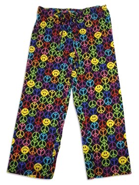 Bee Posh Girls and Ladies / Womens Cozy Knit Pajama Lounge Sleep Pant, 25537 multi love peace / X-Large