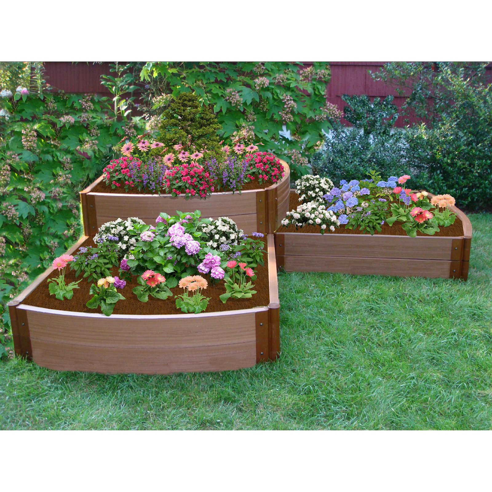 Frame It All 2-inch Series Composite Split Waterfall Raised Garden Bed Kit- 98in. x 98in. x 22in.