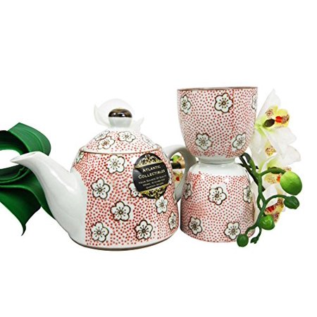 Atlantic Collectibles Japanese Cherry Blossom 14oz Ceramic Tea Pot and Cups Set Serves 2 People (Red Polkadots)