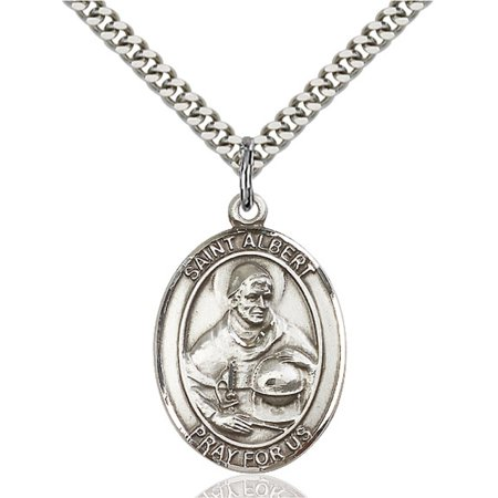 Albert Chain (Sterling Silver St. Albert the Great Pendant 1 x 3/4 inches with Heavy Curb Chain )