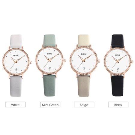 Fashion Simple Women Quartz Watch Student Calendar Alloy Case PU Leather Band Wrist Watch - image 7 de 7
