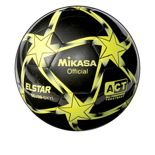Soccer Ball by Mikasa Sports, Elstar Size 4 - Black/Yellow/Lime