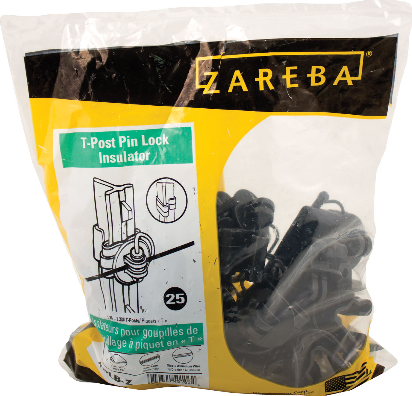 Zareba Black Pin-Lock T-Post Insulator