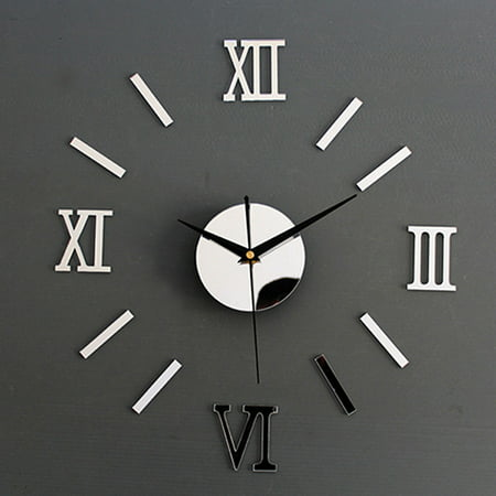 3D Mirror Surface Roman Number Frameless Wall Clock Home Decor ()