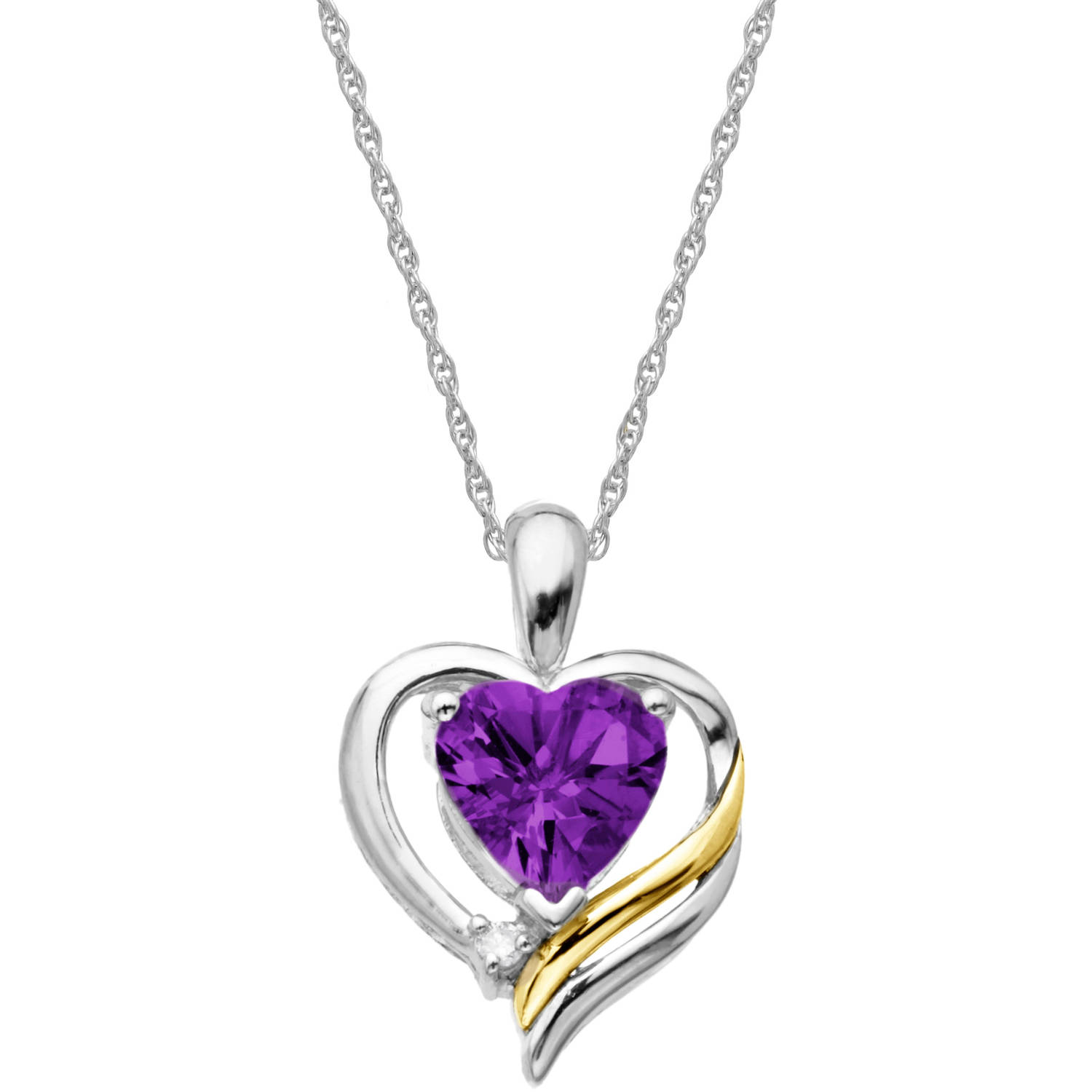 """Duet Amethyst and Diamond Accent Sterling Silver and 14kt Yellow Gold Heart Pendant, 18"""" by Richline Group Inc"""