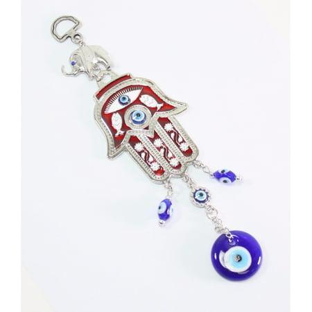 Turkish Blue Evil Eye Red Hamsa Hand Elephant Amulet Wall Hanging Protection Hamsa Hand Protection