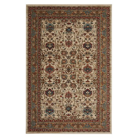 Karastan Spice Market Area Rugs - 90936 70038 Traditional Oriental Cream / Gold Floral Blossoms Petals Vines Rug