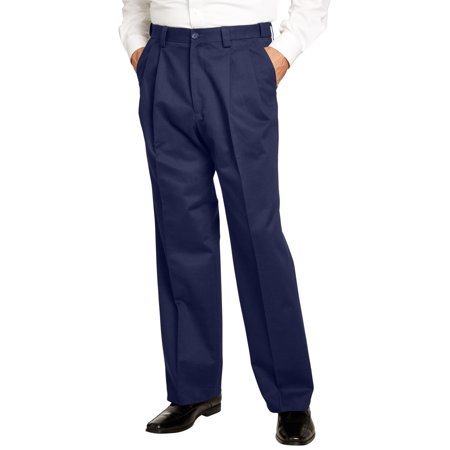 Kingsize Men's Big & Tall Relaxed Fit Wrinkle Free Expandable Waist Pleat Front Pants