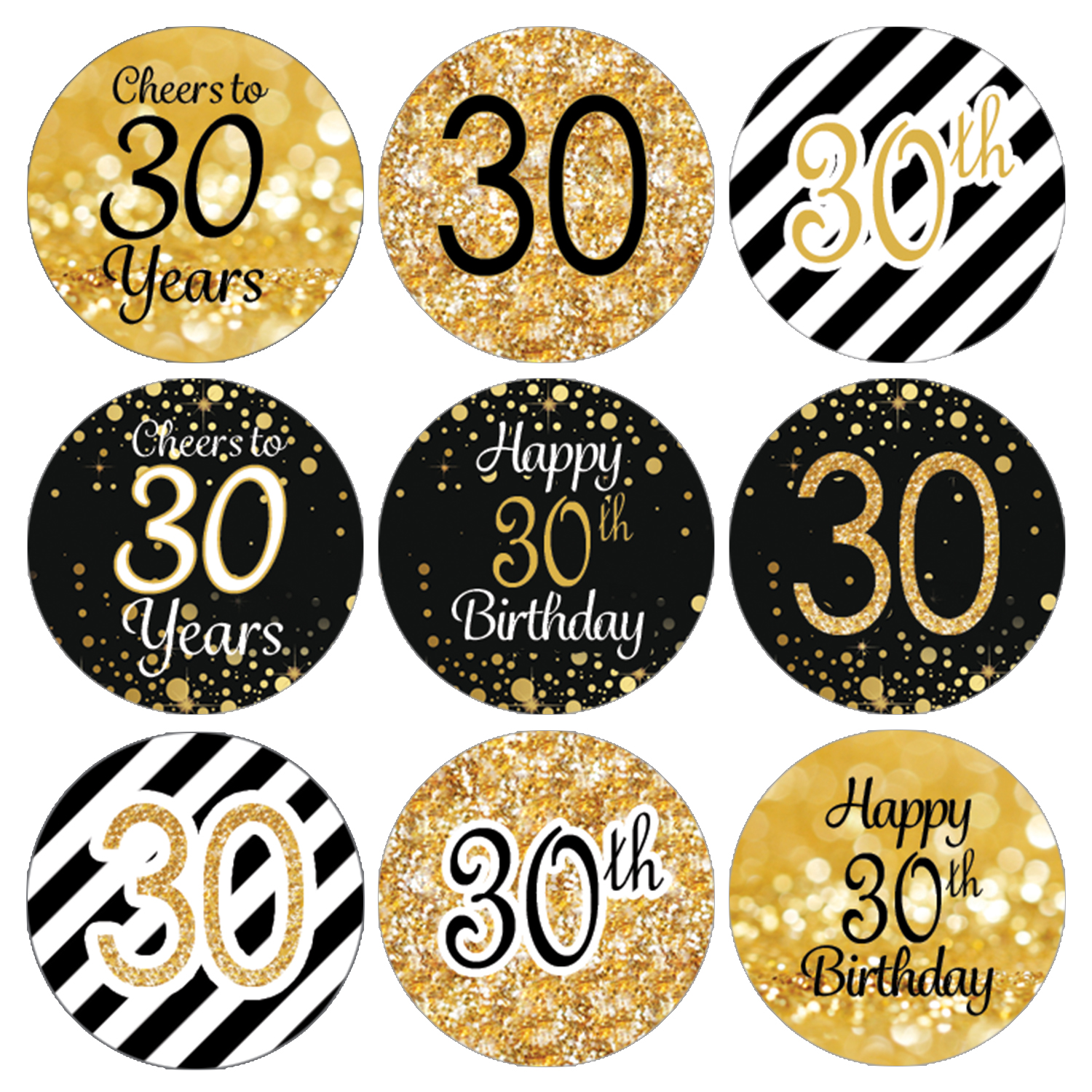 30th Birthday Party Favor Stickers   216 Labels   Black and Gold Decoration Supplies
