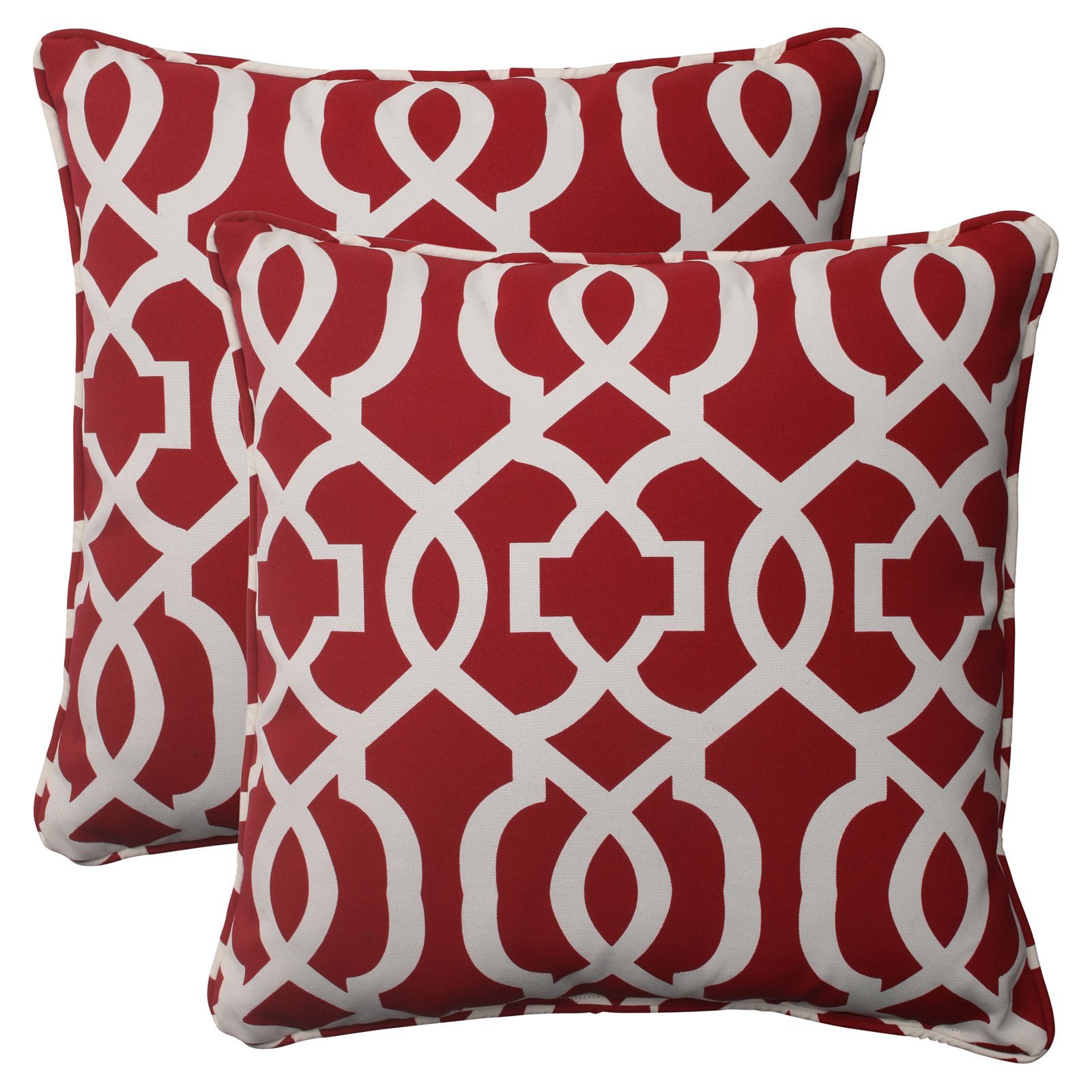 Pillow Perfect Outdoor  Indoor New Geo Red 18.5-Inch Throw Pillow (Set of 2) by Pillow Perfect
