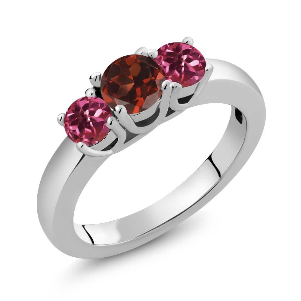 1.03 Ct Round Red Garnet Pink Tourmaline 18K White Gold Ring by