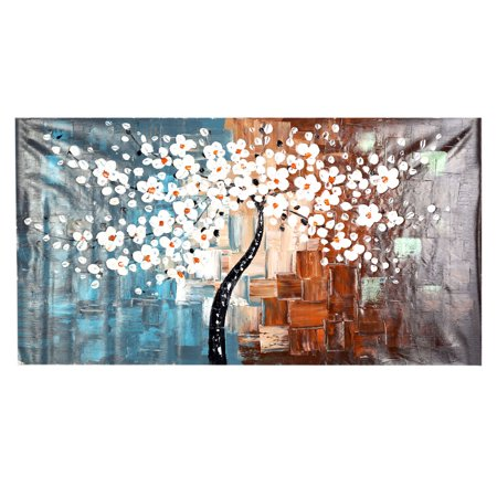 60*120cm Unframed Hand-painted Oil Painting Set Flower Tree Canvas Print Decoration for Home Living Room Bedroom Office Art (Tree Set Oil Painting)