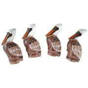 Coastal Pelican Bird Napkin Rings Set of 4 Carved Wood